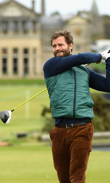 Hole in one! Jamie Dornan got in some practice prior to the 2017 Alfred Dunhill Links Championship at The Old Course on October 4 in St Andrews, Scotland.