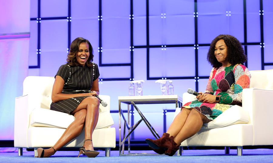 Michelle Obama was all smiles as she chatted with friend Shonda Rhimes during the Pennsylvania Conference for Women on October 3.