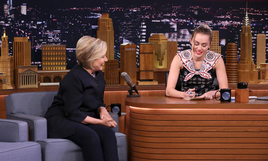 Miley Cyrus became emotional as she participated in the <i>Tonight Show with Jimmy Fallon</i> Thank You Notes segment dedicated to Hillary Clinton.