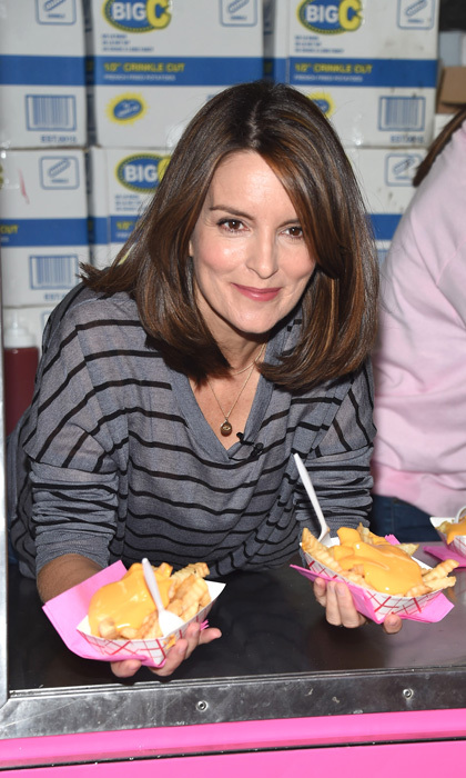 Tina Fey hooked fans up with cheese fries during the celebration of <i>Mean Girls</i> on Broadway at the August Wilson Theatre.