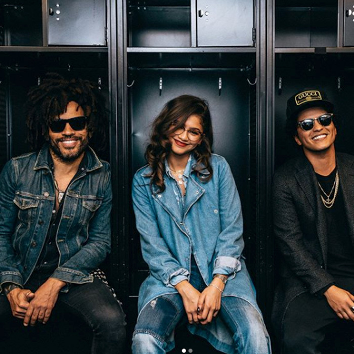 Lenny Kravitz, Zendaya and Bruno Mars were all smiles backstage at the <i>24k Magic</I> world tour in NYC.