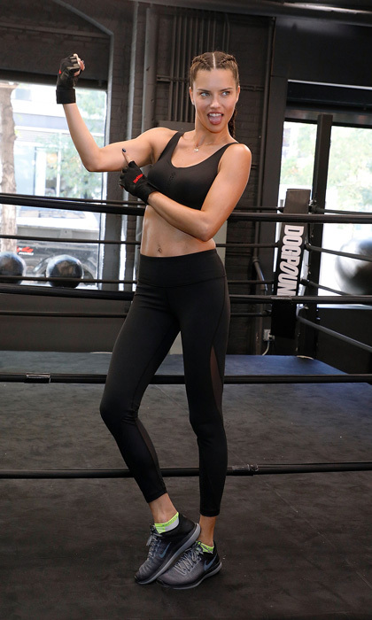 With under two months to go until the Victoria's Secret Fashion Show, Adriana Lima invited HELLO! to Train Like an Angel with her at Dogpound in NYC. The mom-of-two took us through the workout as well as shared that she loves doing Death by Burpees when she is on the road since it doesn't require any equipment and can be done anywhere.