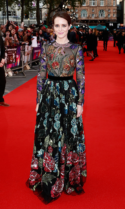 Claire Foy embraced fall's dark florals at the European premiere of <I>Breathe</I>. The film made its debut during the opening night gala of the 61st BFI London Film Festival on October 4.