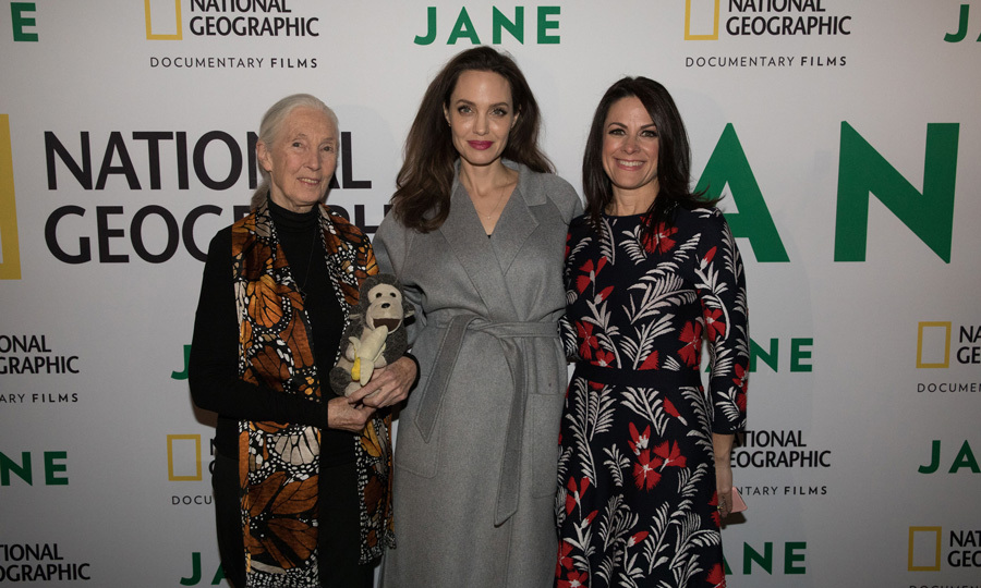 Angelina Jolie posed with Dr. Jane Goodall and National Geographic Global Networks CEO Courteney Monroe before the screening of the feature film <i>JANE</i> at the Hollywood Bowl on October 9. The premiere included a live orchestra, who performed composer Philip Glass' original score for the film.