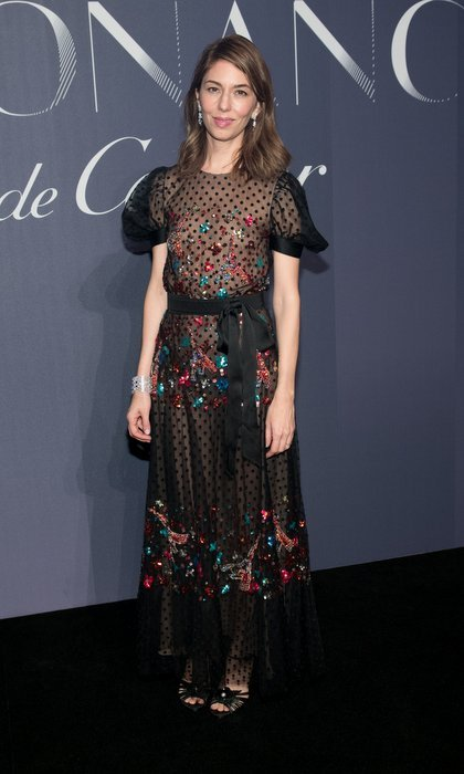 <I>The Beguiled</I> director Sofia Coppola wore a point d'esprit Chanel dress with glittering embroidery at the Cartier party in New York City. 