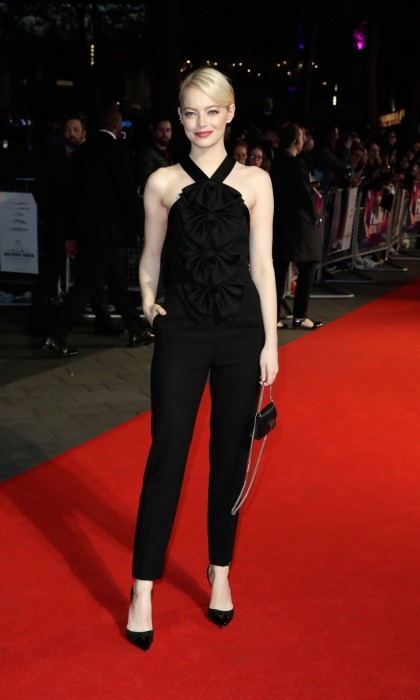 Emma Stone stunned in a sleek black jumpsuit at the at the BFI premiere of <i>Killing of the Sacred Deer</i> in London on October 12. 
