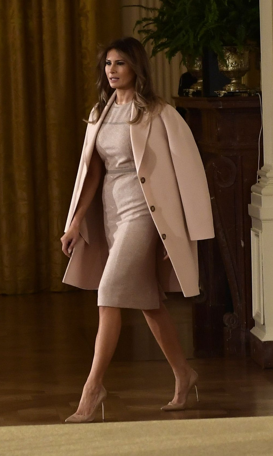 The following day the US first lady was back to her ladylike palette and wardrobe with a pastel shift dress worn with color coordinated coat and heels. Melania was accompanying husband Donald Trump at the White House as he nominated Kirstjen Nielsen as the new Secretary of Homeland Security.