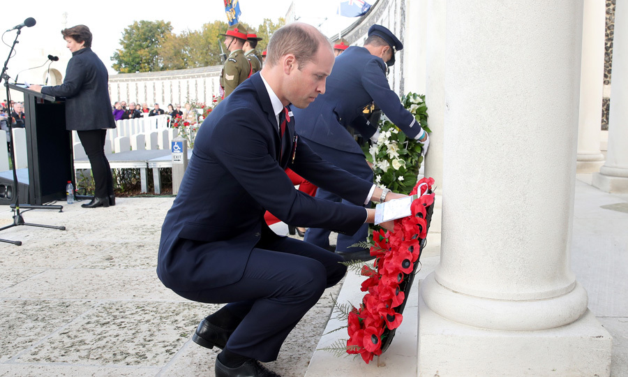 Great honor! Prince William laid a wreath at the New Zealand Memorial Wall to the Missing on October 11 at the Tyne Cot Cemetery in Flanders, Belgium. William attended the ceremony on behalf of his grandmother Queen Elizabeth – where he delivered a speech about the brave soldiers who participated in the historic battle.