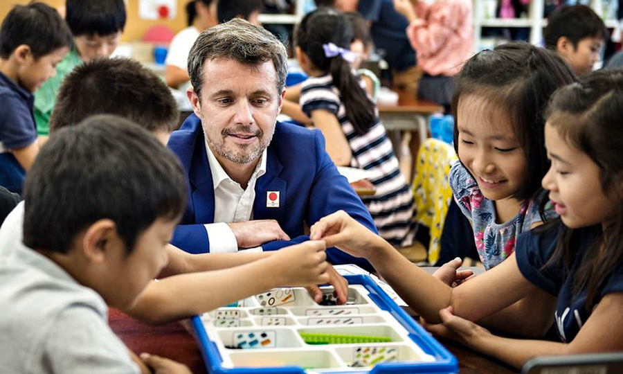 School's in session! Crown Prince Frederik took a moment to learn from the students as he and his wife Crown Princess Mary paid a visit to the Funabashi Primary School. The royal couple celebrated the 150 year anniversary of dimplomatic relations between their country and Japan.