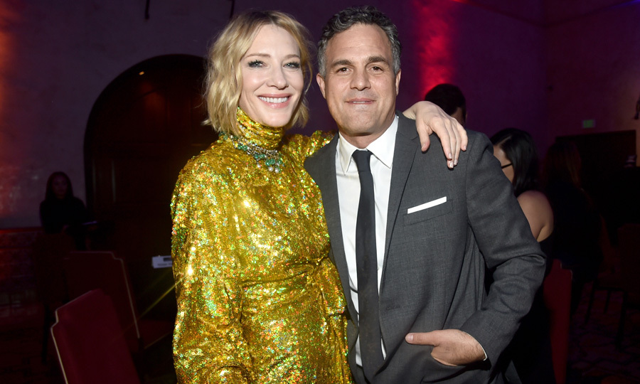 Cate Blanchett and Mark Ruffalo were all smiles at the premiere of Marvel Studios' <i>Thor: Ragnarok</i> in L.A. on October 10. Cate dazzeled wearing a sparkling dress by Gucci for the occasion, while Mark looked sharp in a classic grey suit.
