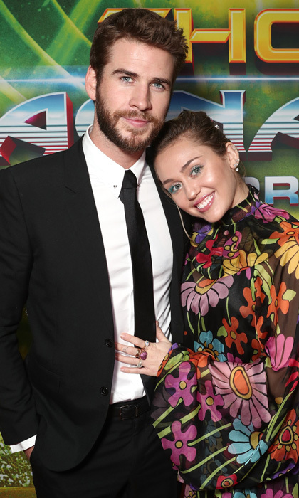 Love at the movies! Miley Cyrus and Liam Hemsworth made a rare public appearance during the premiere of Disney and Marvel's Thor: Ragnarok in L.A. The pair, who reconciled in January 2016, made their first red carpet appearance together since October 2016, to support Liam's older brother Chris Hemsworth.