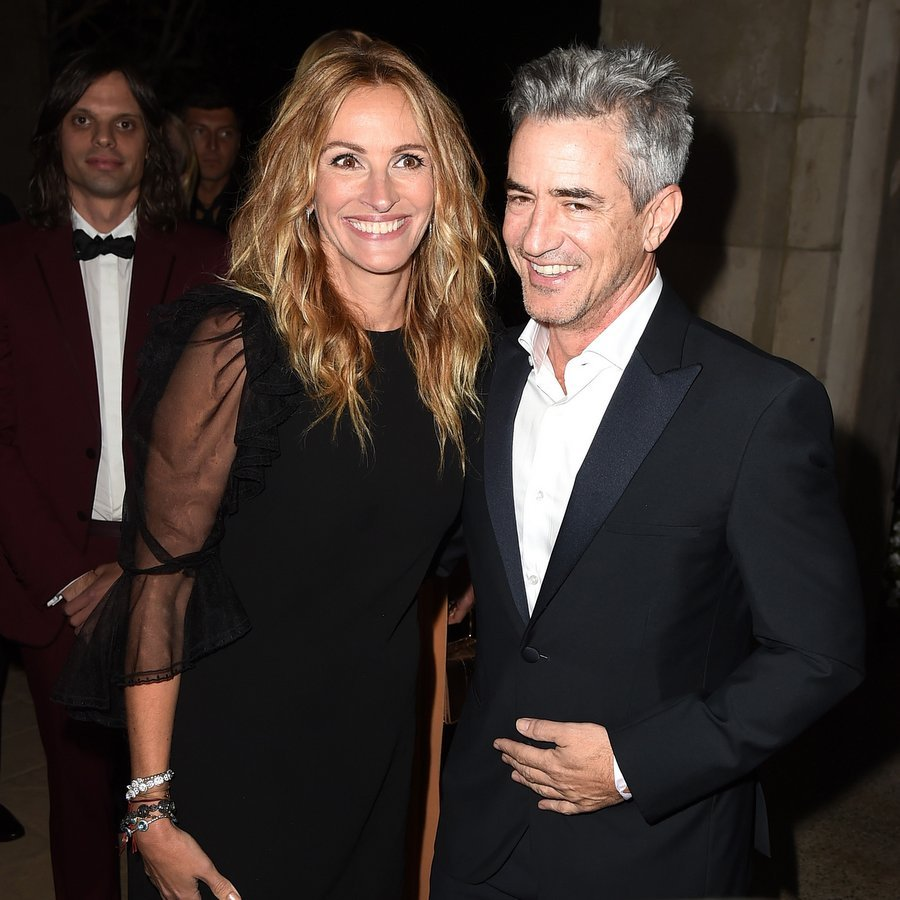 During the night, honoree Julia Roberts was serenaded by Chris Martin of Coldplay, who sang <I>Pretty Woman</I> in her honor, and supported by her famous friends including actor Dermot Mulroney, seen here, her leading man in 1997's <I>My Best Friend's Wedding</I>. The pair also worked together years later on <I>August: Osage County</I>.