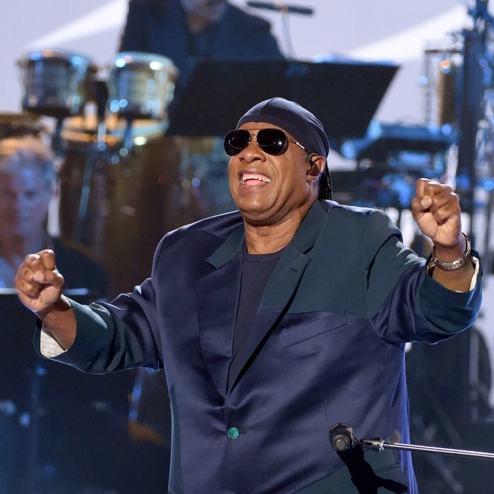 Stevie Wonder filled the crowd with hope when he sang 'Everything's Gonna Be Alright'.