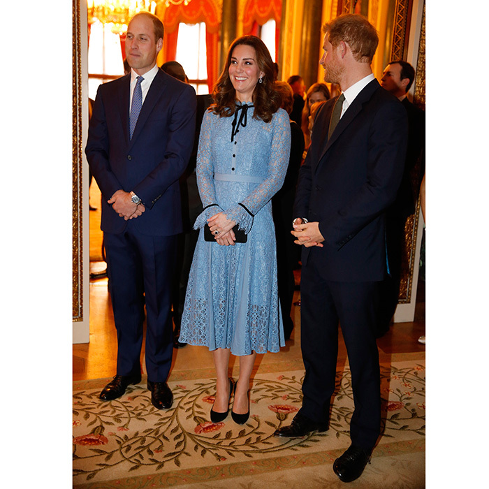 In October 2017, Prince William and Prince Harry supported Kate as she made her first public appearance since announcing her third pregnancy to mark World Mental Health Day. The Duchess of Cambridge, who had been suffering from severe morning sickness, hadn't appeared in public for around 6 weeks, but joined Wills and Harry at the reception at Buckingham Palace to celebrate the contribution of those working in the mental health sector across the UK. 