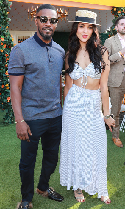 <I>Baby Drivers</I> stars Eiza Gonzalez and Jamie Foxx attended the eighth annual Veuve Clicquot Polo Classic on October 14.