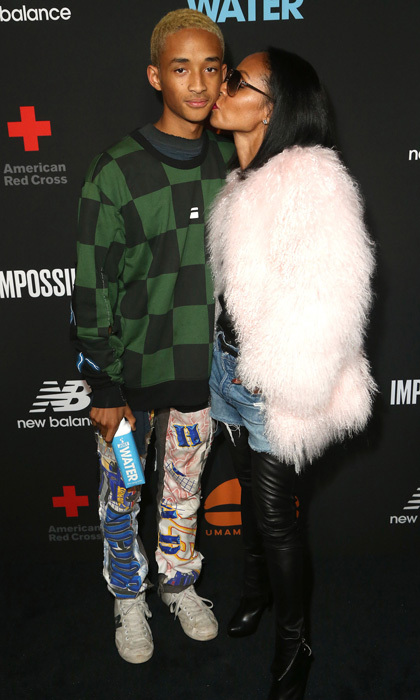 Jada Pinkett Smith couldn't help but give her son a kiss at his Umami Burger x Jaden Smith Artist Series launch at The Grove Los Angeles.