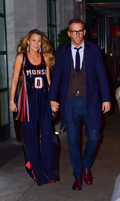 Date night in the city! Blake Lively, wearing a Monse jersey-inspired outfit, had the support of her husband Ryan Reynolds at the premiere of her new film <i>All I See Is You</i> in New York on October 16.