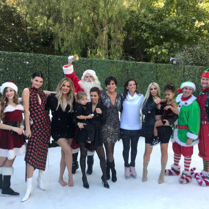 "A very Kardashian Kristmas! Kris Jenner got into the spirit of Christmas with her daughters Kendall, Khloe, Kourtney and Kim in addition to her grandchildren Reign and North. The matriarch shared this picture on her Instagram, which she captioned, ""Oh no big deal...just Ice Skating with @nancyakerrigan in Calabasas in 95 degree heat for our Christmas Special!!!! #nancykerrigan#christmasinOctober #santaselves#santa #soexcited."" 