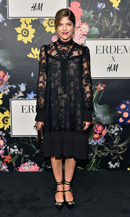 Selma Blair wore an Erdem x H&M lace dress with pleated cuffs and skirt to the collection's launch. The actress also stepped into a a key accessory from the collab – gem-embellished multi-strap mary jane shoes. 