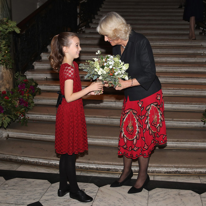 Camilla, the Duchess of Cornwall greeted Oriel Milton, who is the great-granddaughter of Sir Hugh Casson at the Royal Academy of Arts to launch the RA250 Friends Membership scheme on October 16 in London, England. Prince Charles' wife was named patron of the Royal Academy Friends in 2016.
