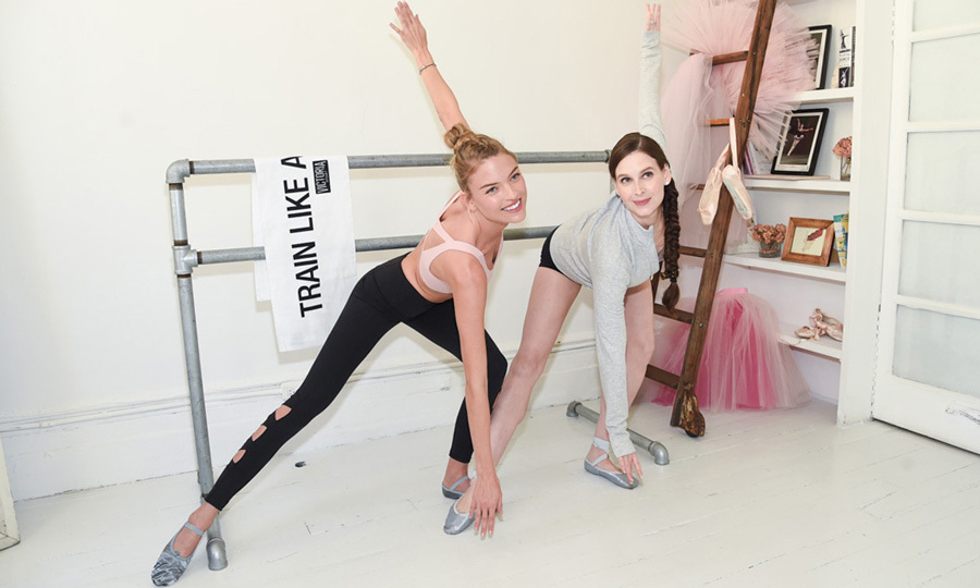 Martha Hunt, in an Angel Max Sport Bra, swapped her wings for ballet slippers as she and Ballet Beautiful founder Mary Helen Bowers helped the Victoria's Secret Angel prepare for the VS Fashion Show runway in NYC.