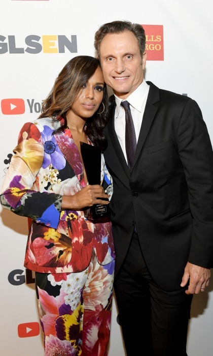 "Kerry Washington was also honored with a 2017 GLSEN Respect Award. Seen here along with her <i>Scandal</i> co-star Tony Goldwyn, who introduced her on stage during the ceremony, the 40-year-old actress looked bright in a Roberto Cavalli pantsuit. Kerry was given the ""Inspiration Award"" for her efforts. 