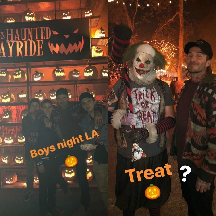 Spooky boys night! David Beckham took his sons Cruz, Romeo and Brooklyn to the Haunted Hayride in L.A. on Saturday October 21. The 42-year-old retired soccer star documented their holiday adventure on his Instagram stories. One pic showed the group in front of the wall of evil looking pumpkins, while another showed David posing with a sinister clown.