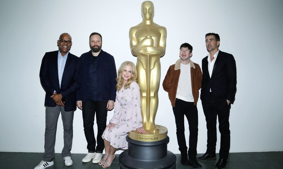 Giant Oscar! Nicole Kidman, Barry Keoghan and Colin Farrell attended the Academy of Motion Picture Arts & Sciences official screening of their film <i>The Killing of a Sacred Deer</i> at the MOMA Celeste Bartos Theater on October 21 in New York City. The three stars posed with the film's writer, director and producer Yorgos Lanthimos, and AMPAS New York programs and membership director Patrick Harrison.