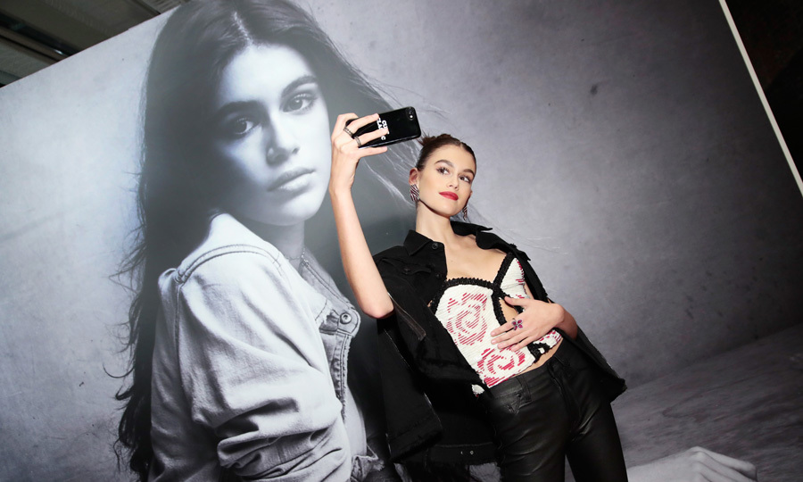 Seeing double! Kaia Gerber snapped a selfie during the Hudson Jean SS18 preview event. The 16-year-old supermodel was the host of the party, which took place in New York City on October 20.
