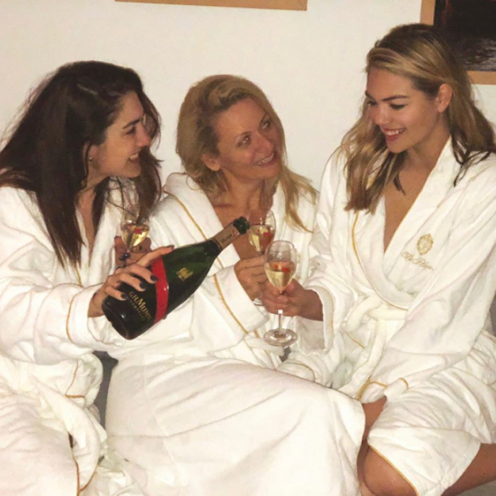 Between the nonstop action watching her fiancé Justin Verlander, with his team the Houston Astros, beat the NY Yankees on the road to the World Series and planning her upcoming nuptials, Kate Upton enjoyed a spa day with her sister and friends at the Guerlain Spa in the Plaza Hotel. She and the rest of the ladies donned robes as they sipped Mumm champagne and got pampered.