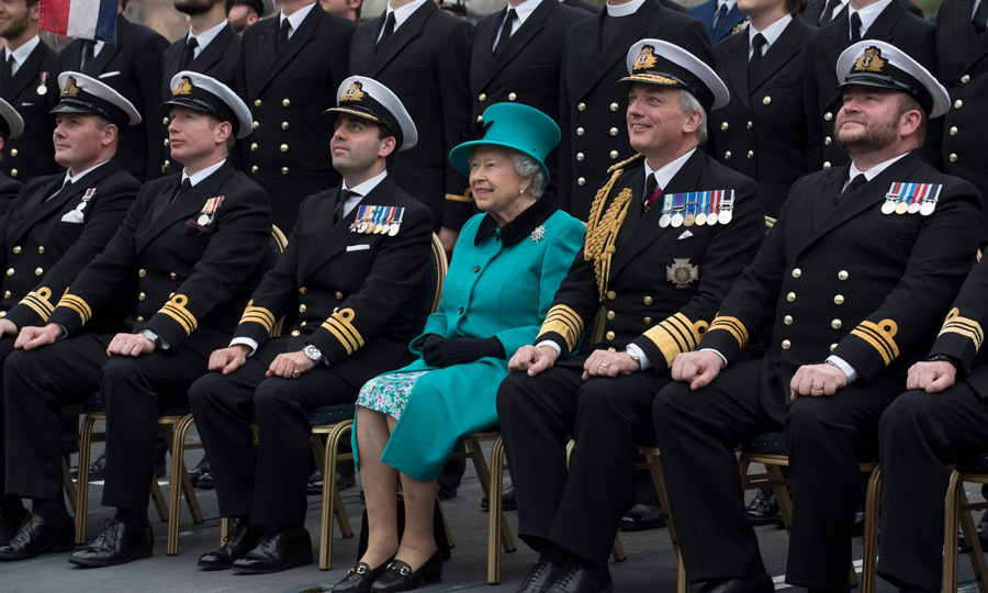 Queen Elizabeth was all smiles during her visit to the HMS SUTHERLAND to mark the 20th anniversary of the ship's commissioning on October 23 in London. During her visit on board the ship, Her Majesty met with crew members, fire fighters, commanding officers and more.