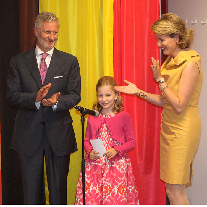 As a young queen in training, Princess Elisabeth has already started to learn the royal ropes with a host of official engagements. Here, aged nine, she is joined by her parents as she gives her first speech during the inauguration of her namesake Princess Elisabeth Children's Hospital in Ghent, Belgium, in 2011.