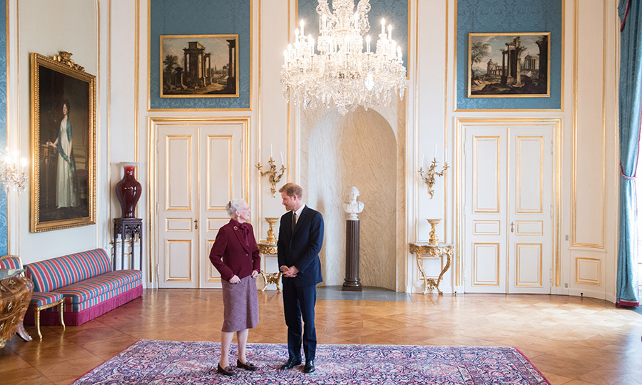 Earlier, Prince Harry met with Denmark's Queen Margrethe II at Amalienborg Palace in Copenhagen. The 18th century royal complex includes the Queen's residence as well as Frederick VIII's Palace, the official residence of Crown Prince Frederik and Crown Princess Mary. 