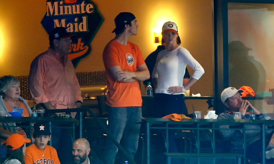 Kate Upton was back on her fiancé Justin Verlander's home turf for the World Series. The model dressed casually in jeans, a white shirt and an Astros baseball cap as she watched from a suite.