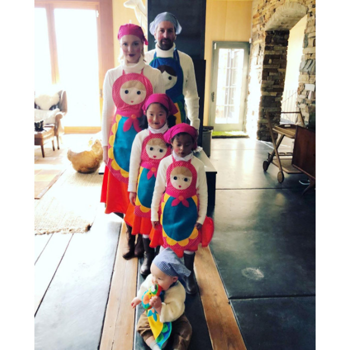 "Katherine Heigl and Josh Kelley made Halloween a family affair. The couple along with their three children, Naleigh, Adalaide and Joshua Jr. dressed as Russian Nesting Dolls. The mom-of-three wrote on Instagram: ""The big reveal! Well...it's Big to me at least! I realize we look like we could be a bunch of bakers, chefs or flight attendants but we are in fact RUSSIAN NESTING DOLLS! Hahahah! I'm sorry, I just think we all look hilarious! Family themed costumes may be a new tradition...at least as long as I can talk my kids into it! Happy Halloween from the Kelley's! To find out where I got these amazing hand made costumes head over to the blog and check out my post Enter If You Dare. Or stay tuned for my next Halloween post with more fun family pics and all the costume details! #thoseheavenlydays #handmadehalloween thoseheavenlydays.com""