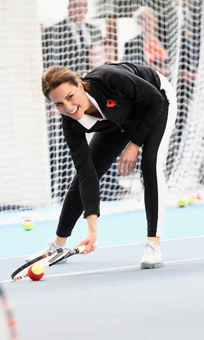 Prince William's wife, who is an avid tennis fan, was in her element at an October 31 engagement. During the outing — which marked her first solo one since announcing her third pregnancy in September — Kate took part in a tennis coaching session that was run by Coach Core apprentices. 