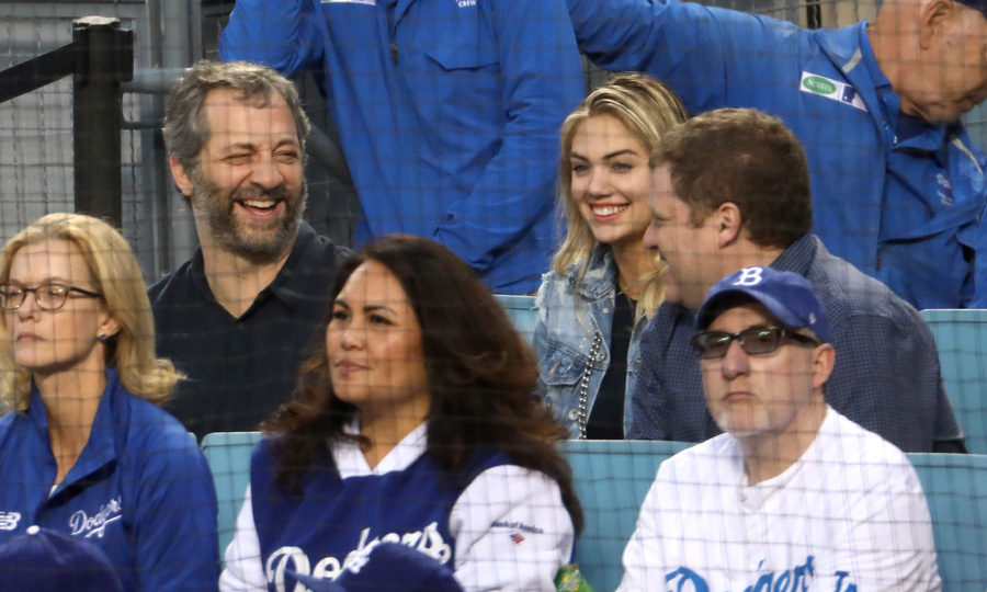 The Sports Illustrated model sat among Dodgers fans during the final game of the World Series. Kate had a laugh with Judd Apatow and a friend before the Astros won.