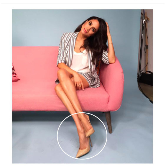 It hasn't gone without notice that, from her bold brows to classic wardrobe, that Meghan has a lot in common with Prince Harry's sister-in-law the Duchess of Cambridge. Another style similarity? They both love nude heels. Here, Meghan rocks neutral stilettos by Jimmy Choo.