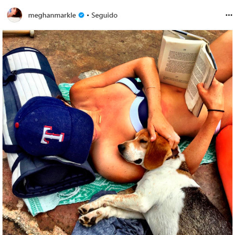 A bikini, book, furry pal... and a baseball hat to protect her skin from the sun. She has plenty of baseball hats in her collection, including this red white and blue Texas Rangers topper. 