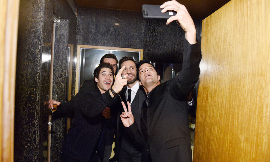 Stars of the upcoming series <i>American Crime Story: Assassination of Gianni Versace</i>, Darren Criss, Edgar Ramirez and Ricky Martin had a selfie moment during the GQ Style and Hugo BOSS celebration of Amazing Spaces in L.A. on November 2.
