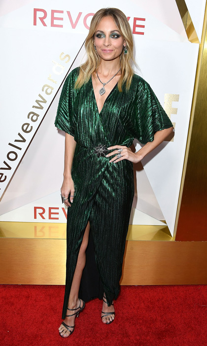 Nicole Richie wore a design from her House of Harlow collection to the #REVOLVEAwards in L.A.. The designer matched her eyeshadow to the hunter green hue.