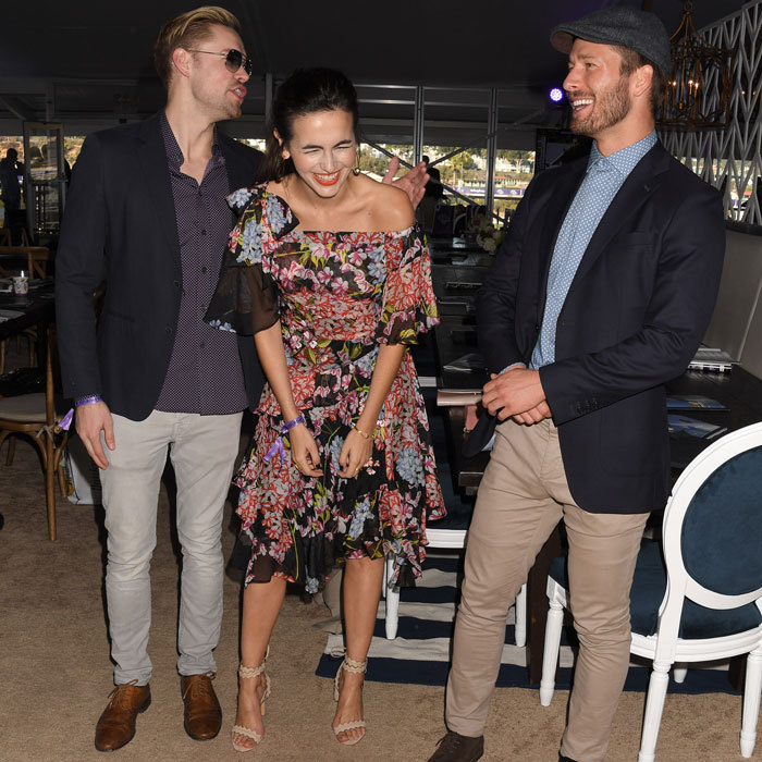 Chord Oversteet, Camilla Belle and Glen Powell clearly had a fun day at the races in Del Mar, California. The trio watched the 34th annual Breeders' Cup World Championship at the Thoroughbred Club Racetrack on November 4.