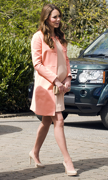 What a peach! Kate wore a Tara Jarmon coat during a visit to Naomi House Children's Hospice on April 29, 2013 in Hampshire, England. 