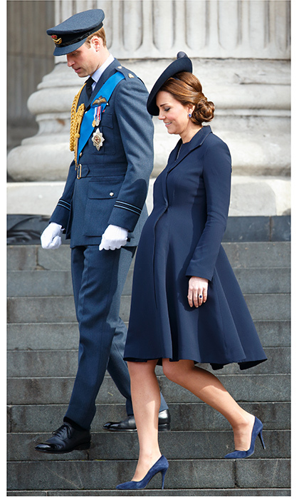 The Duchess sticks to her usual tastes during pregnancy, often wearing her signature coat dresses adapted to her growing figure. Kate was classically chic in a navy blue Beulah London look as she joined Prince Williamat a Service of Commemoration to mark the end of combat operations in Afghanistan at St Paul's Cathedral on March 13, 2015. 