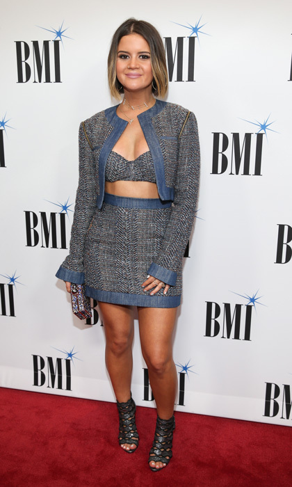 Maren Morris had a different take on the three-piece suit during the BMI Awards in Nashville. The singer, who left her bob straight, wore a tweed mini skit, cropped jacket and bralette.