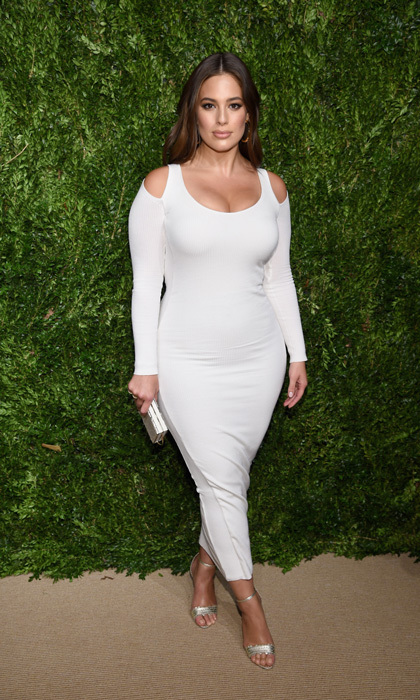 Ashley Graham wore a figure-hugging Victor Glemaud dress with cut-outs to the CFDA/Vogue Fashion Fund Awards in Brooklyn on November 6.