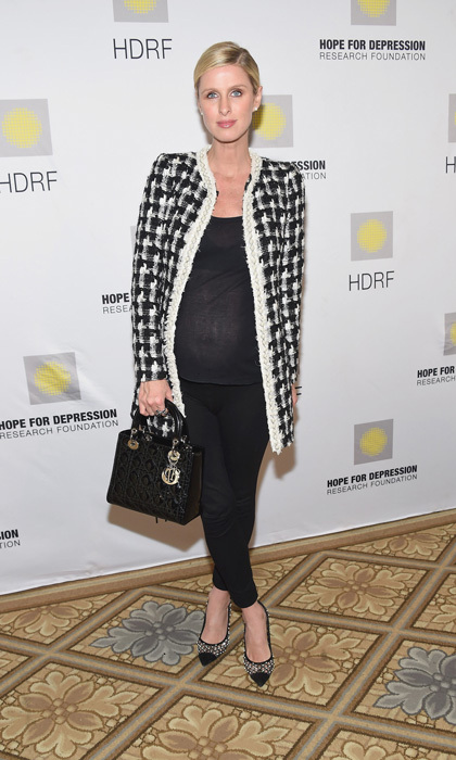 On the same day, Nicky stuck with the black leggings and a black shirt but switched up the jacket for the Hope For Depression Luncheon at The Plaza Hotel in NYC. The blonde beauty also changed up her purse opting for a black Dior.