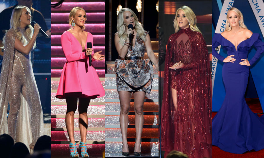 Carrie Underwood didn't have just one outfit change when she hosted the CMAs for the 10th time, she had 11! The mom-of-one walked the carpet in a cobalt Fouad Sarkis gown with embellished sleeves (far right) and Anabela Chan jewels. 