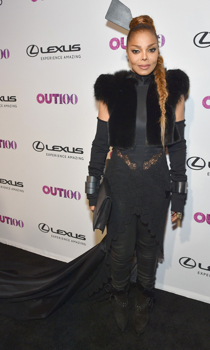 Janet Jackson wore all black to the Out100 Gala in NYC. The <i>Black Cat</i> singer added a long train to her look and kept her hair in a long braid.