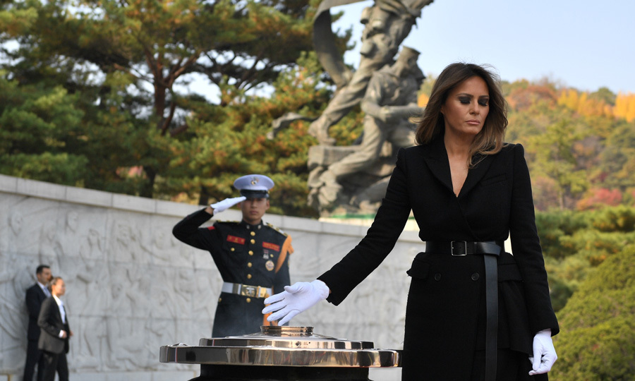 Before leaving Seoul for China on November 8, Melania and Donald visited Seoul National Cemetery for a wreath-laying ceremony. While at the cemetery, the first lady burned incense.